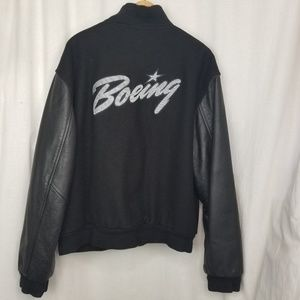 Vintage Mens Boeing Logo Wool Leather Jacket L